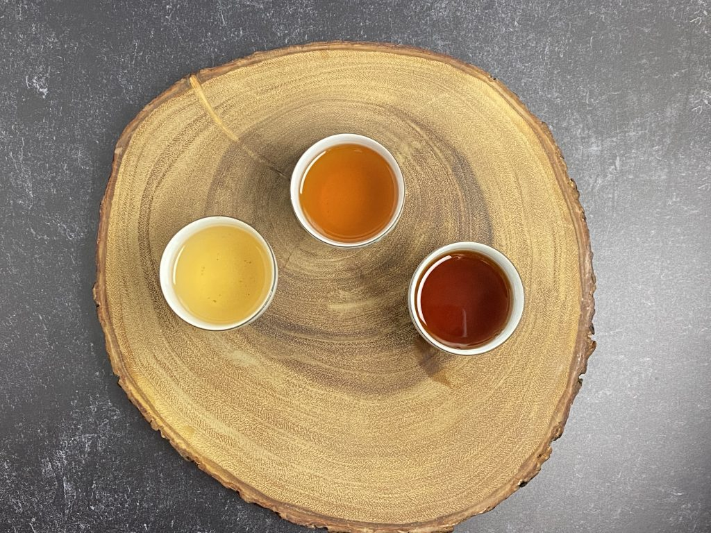 Three teas, each a different color, tell their own story